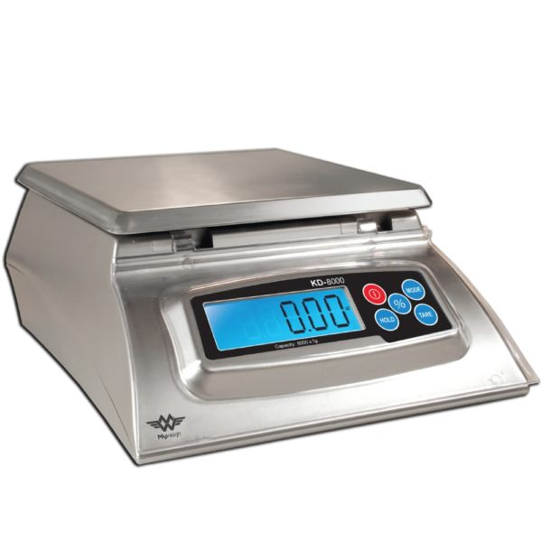 My Weight KD8000 Bakers Math Kitchen Scale Blue LCD ligt on